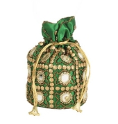 Envie Cloth/Textile/Fabric Embellished Green Coloured Potli Bag