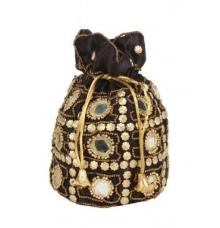 Envie Cloth/Textile/Fabric Embellished Black Coloured Potli Bag