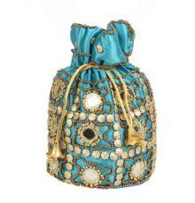 Envie Cloth/Textile/Fabric Embellished Turquoise Potli Bag