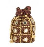 Envie Cloth/Textile/Fabric Embellished Coffee Brown Potli Bag