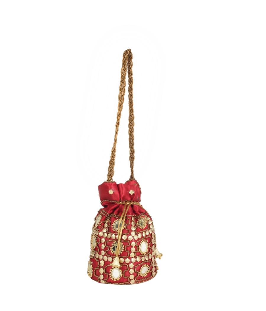 Envie Cloth/Textile/Fabric Embellished Magenta Potli Bag