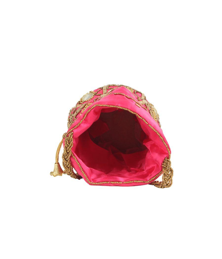 Envie Cloth/Textlie/Fabric Embellished Pink Coloured Potli Bag