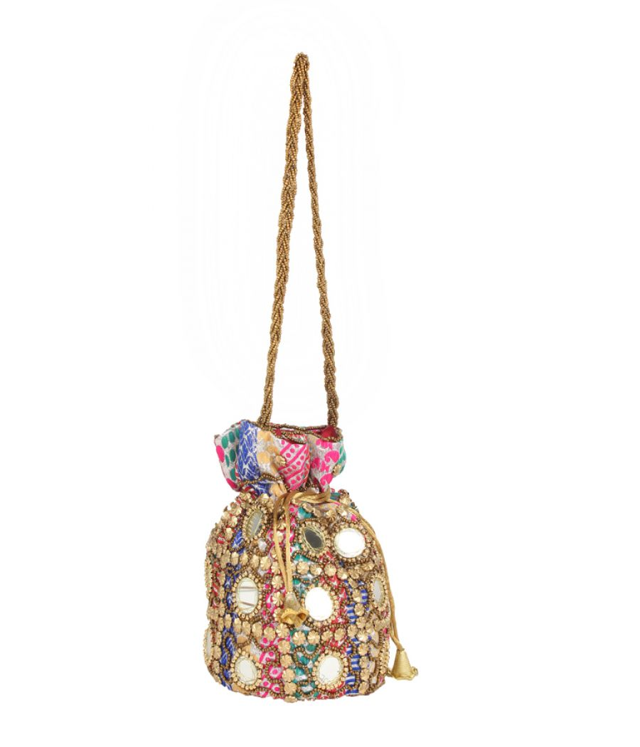 Envie Cloth/Textile/Fabric Embellished Multi Coloured Potli Bag