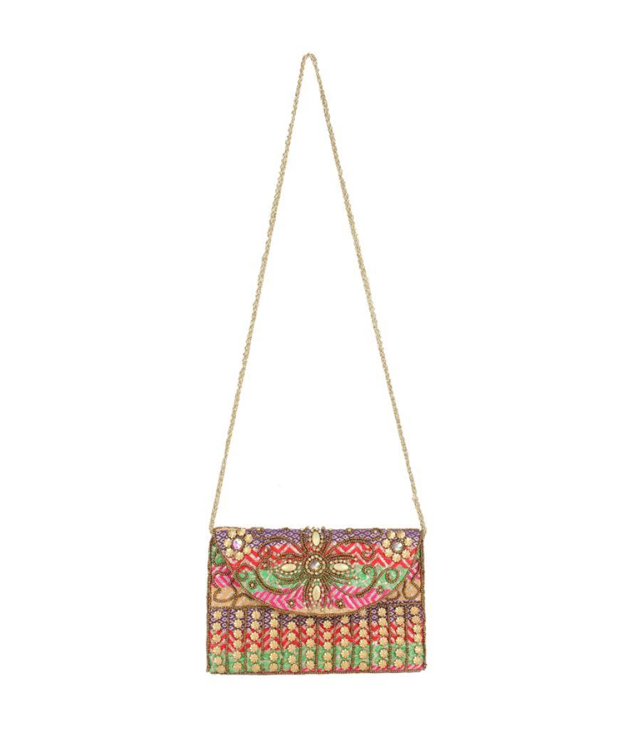 Envie Cloth/Textile/Fabric Embellished Magnetic Snap Sling Bag