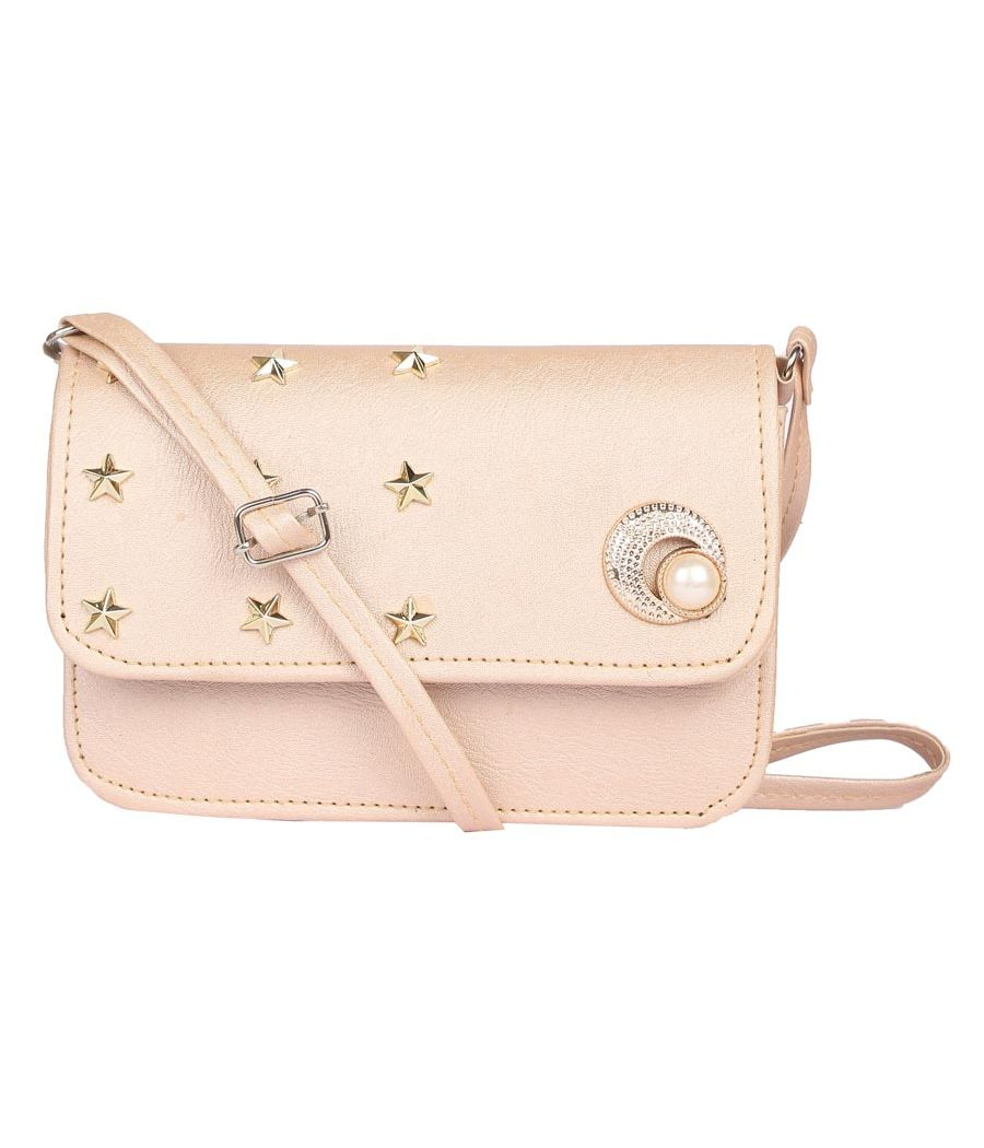Envie Faux Leather Cream Embellished Magnetic Snap Sling Bag