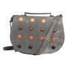 Envie Faux Leather Grey Embellished Magnetic Snap Sling Bag