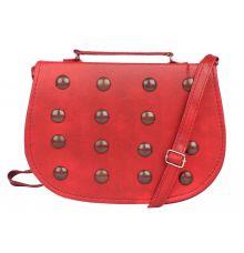 Envie Faux Leather Red Coloured Embellished Magnetic Snap Sling Bag