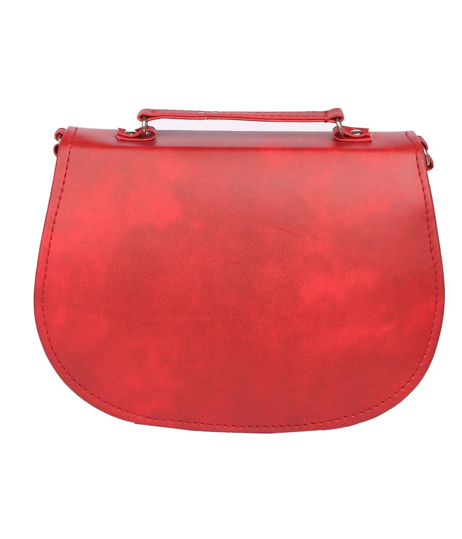 Envie Faux Leather Red Coloured Embellished Magnetic Snap Sling Bag