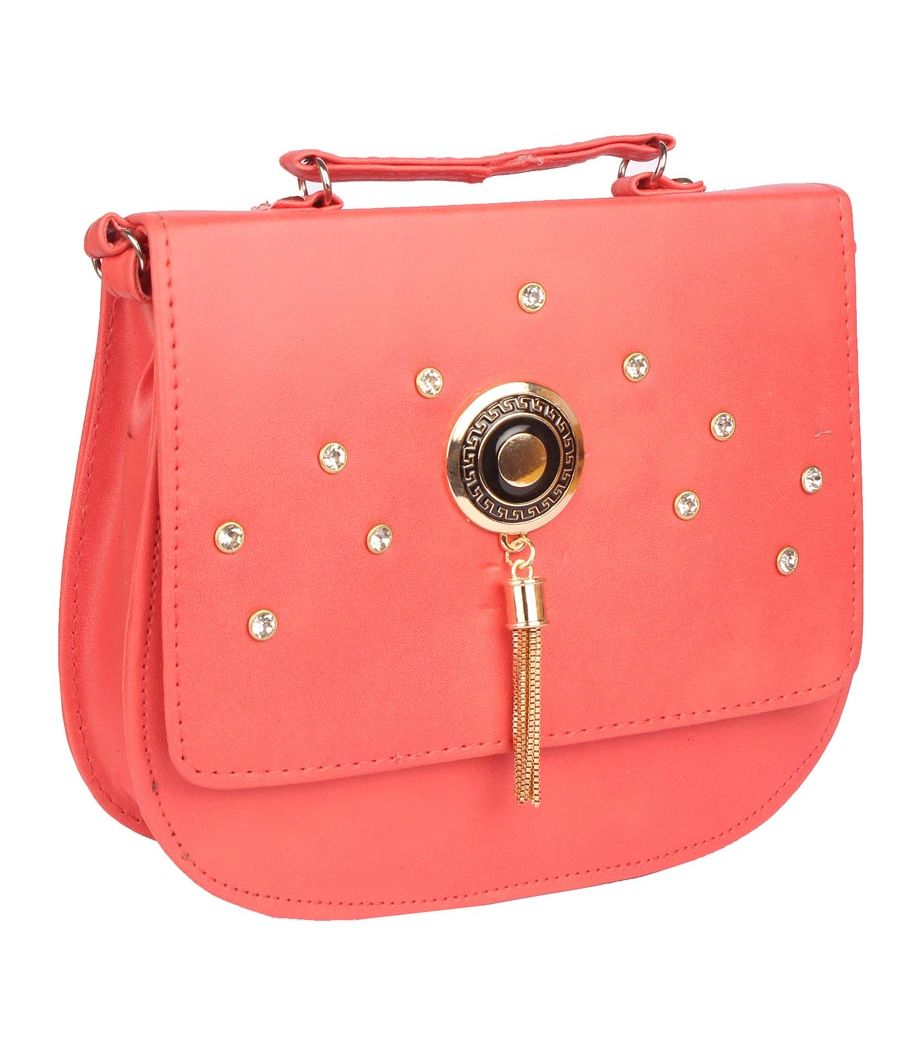 Envie Faux Leather Peach Embellished Magnetic Snap Crossbody Bag