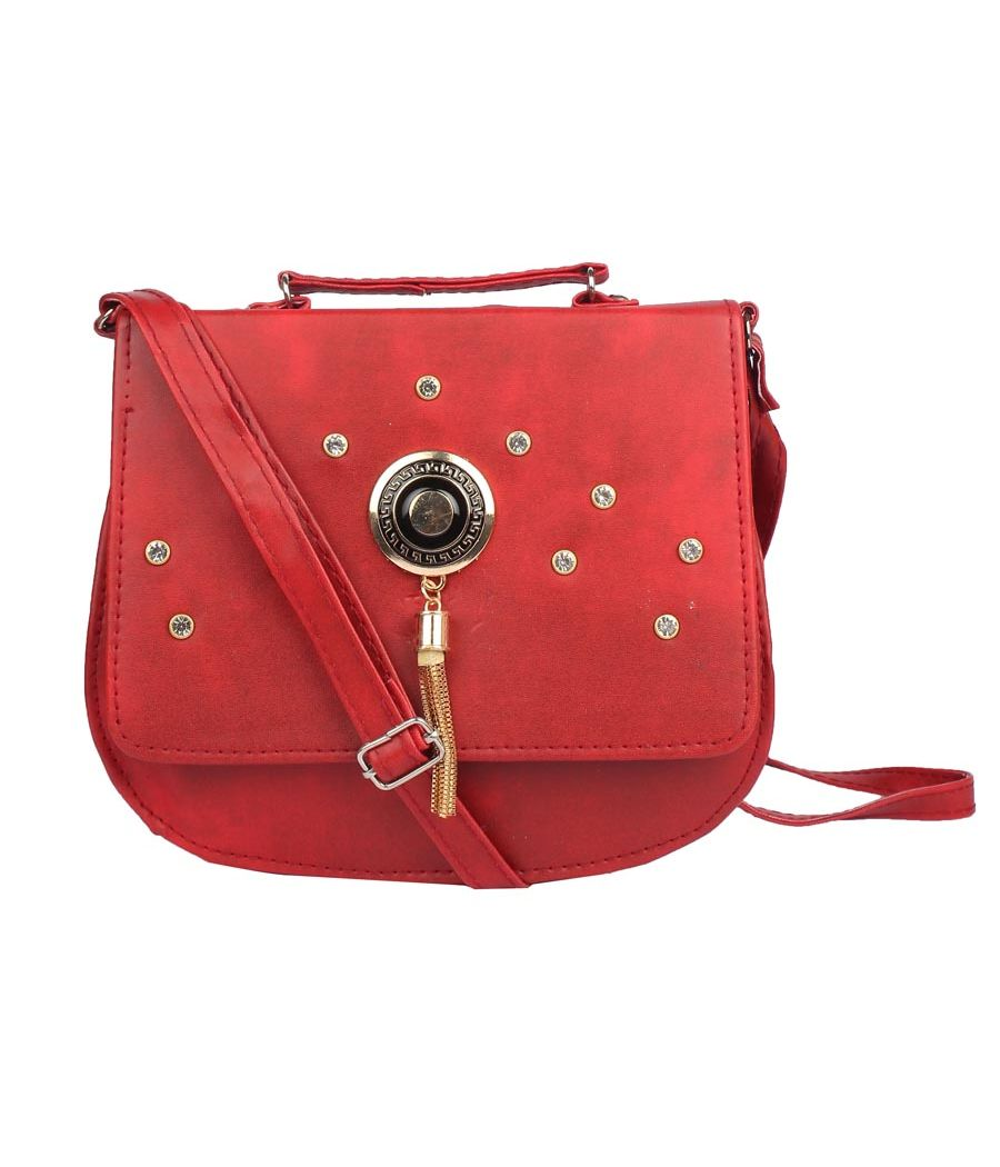 Envie Faux Leather Red Embellished Magnetic Snap Crossbody Bag