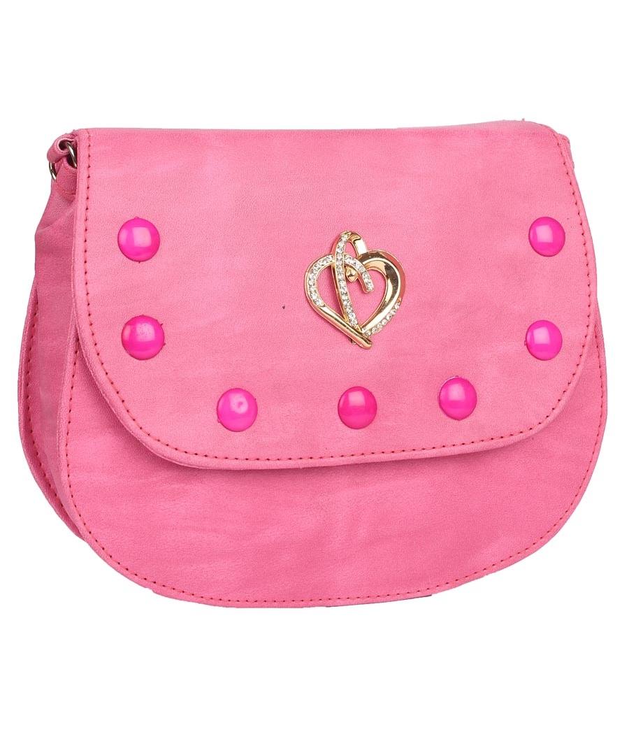 Envie Faux Leather Pink Embellished Magnetic Snap Sling Bag