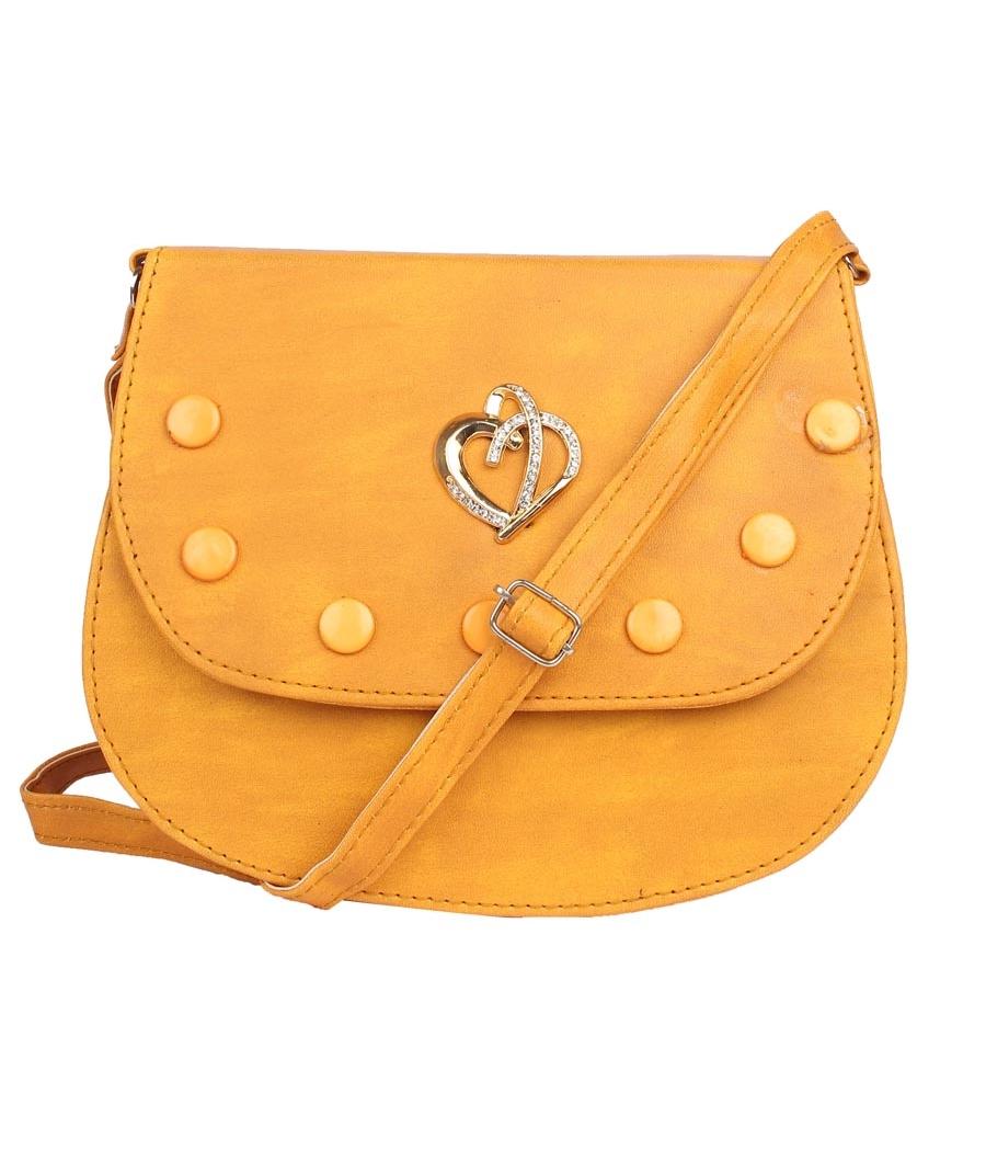 Envie Faux Leather Mustard Coloured Embellished Magnetic Snap Sling Bag