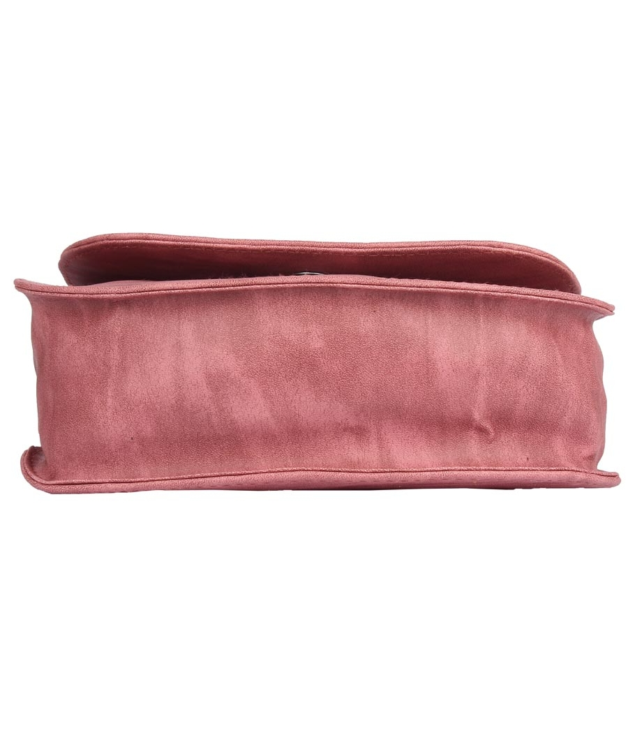 Envie Faux Leather Peach Embellished Magnetic Snap Sling Bag