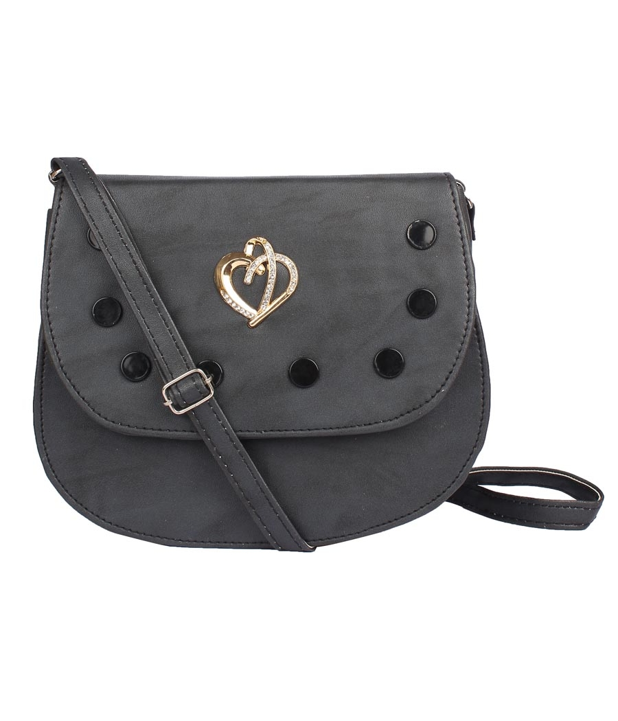Envie Faux Leather Black Embellished Magnetic Snap Sling Bag