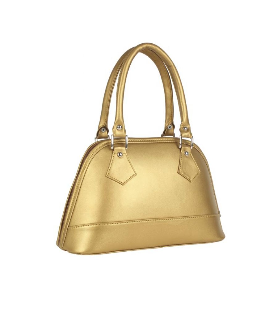 Aliado Faux Leather Solid Golden Zipper Closure  Tote Bag