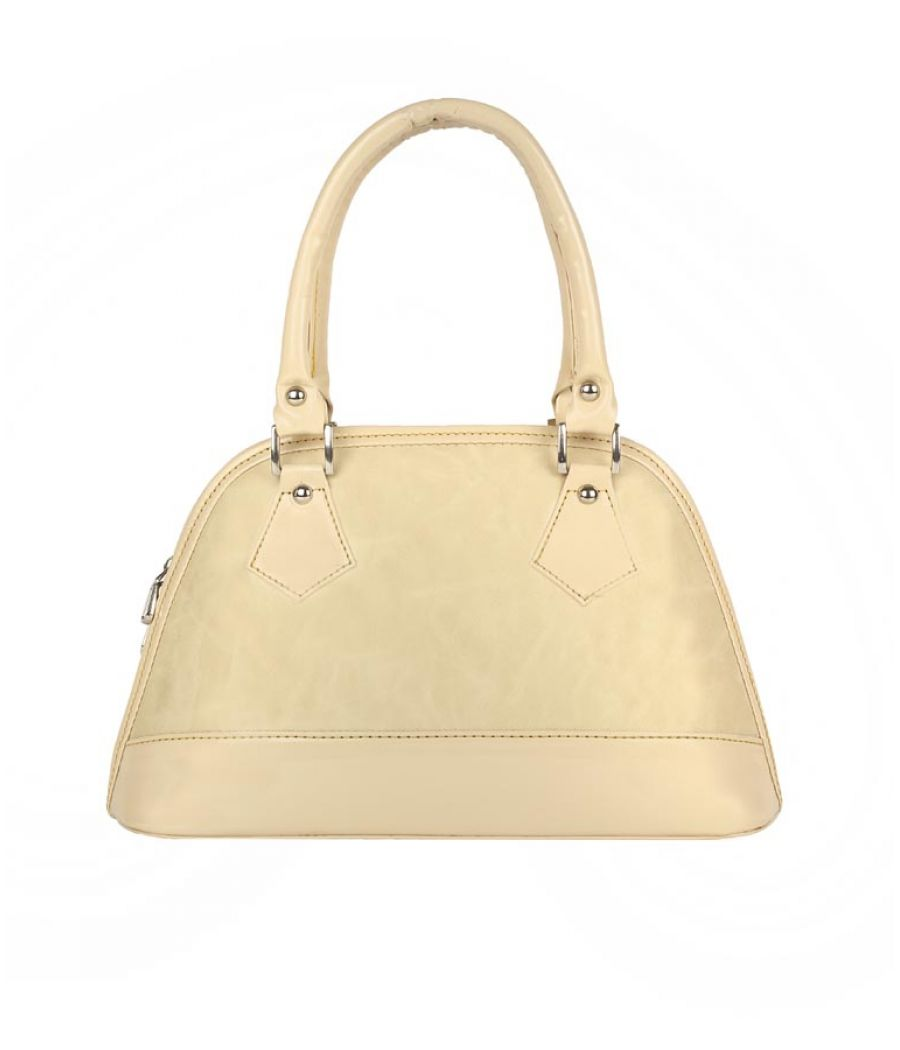 Aliado Faux Leather Solid Cream Zipper Closure Tote  Bag