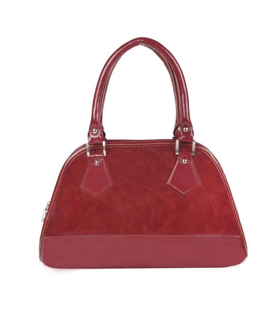 Aliado Faux Leather Solid Maroon Zipper Closure Party/Wedding  Tote Bag