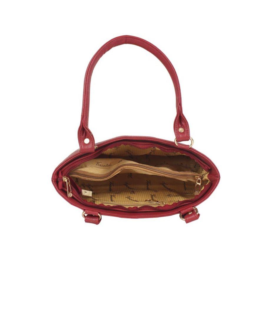 Aliado Faux Leather Solid Red Zipper Closure Formal Tote  Bag