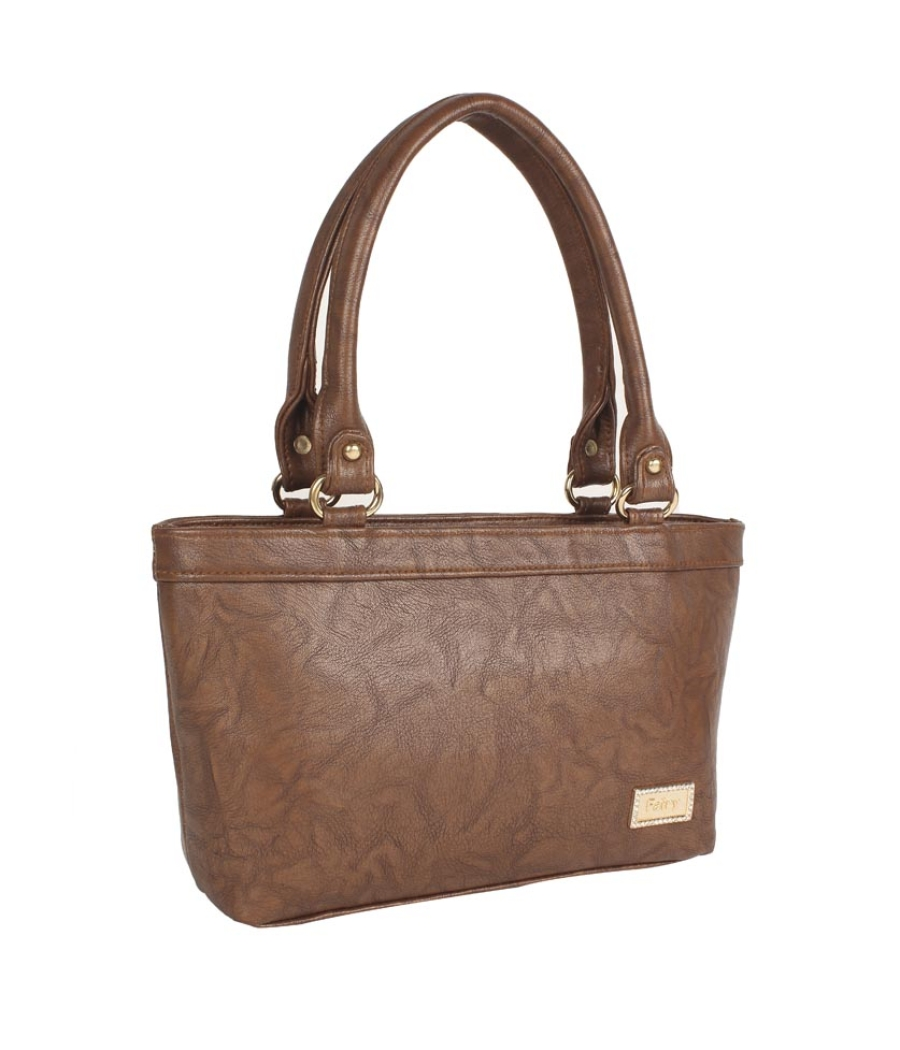 Aliado Faux Leather Solid Coffee Brown Zipper  Closure Formal Tote Bag