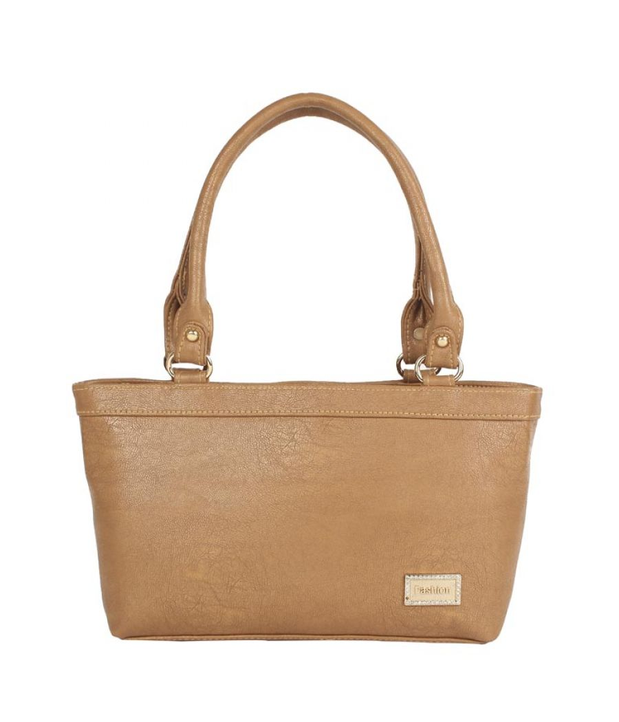 Aliado Faux Leather Solid Beige   Zipper Closure Formal Tote Bag