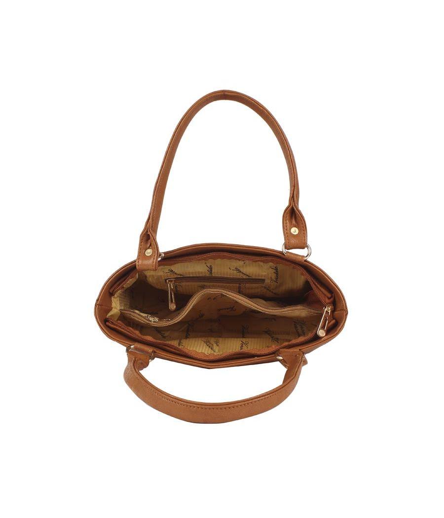 Aliado Faux Leather Solid Brown Zipper Closure Formal    Tote Bag