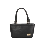 Aliado Faux Leather Solid Black Zipper Closure Formal Tote   Bag