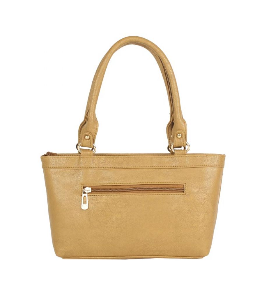 Aliado Faux Leather Solid Mustard Zipper Closure Formal Tote   Bag