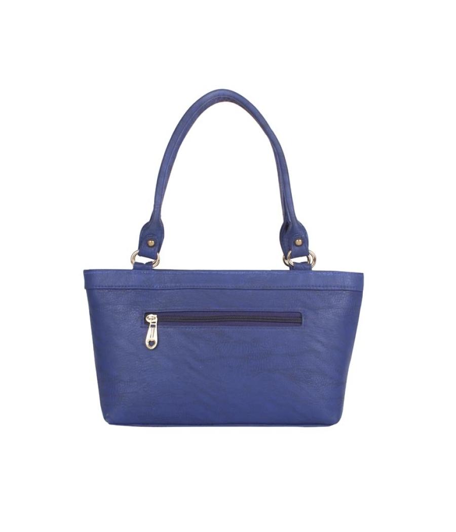 Aliado Faux Leather Solid Blue Zipper   Closure Formal Tote Bag