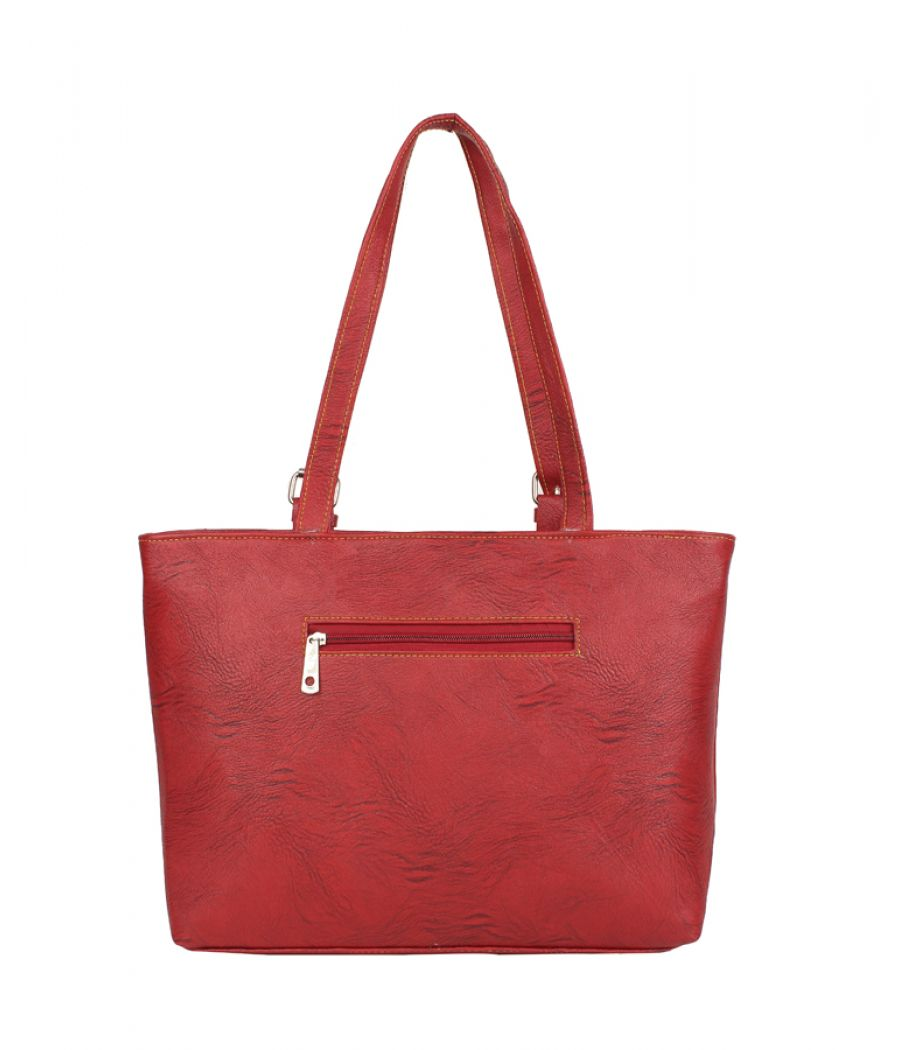 Aliado Faux Leather Solid Red Zipper Closure Formal Handbag