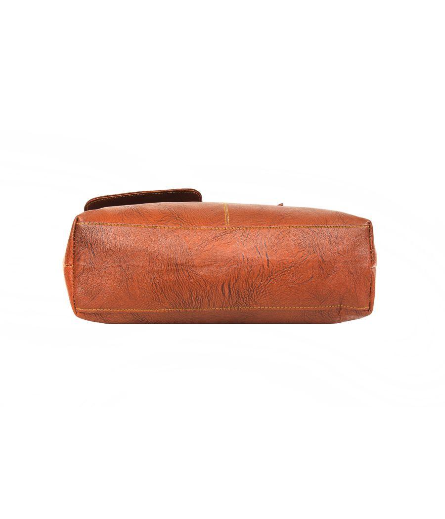 Aliado Faux Leather Solid Brown Zipper Closure   Tote Bag