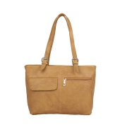 Aliado Faux Leather Solid Beige Zipper Closure Formal  Handbag