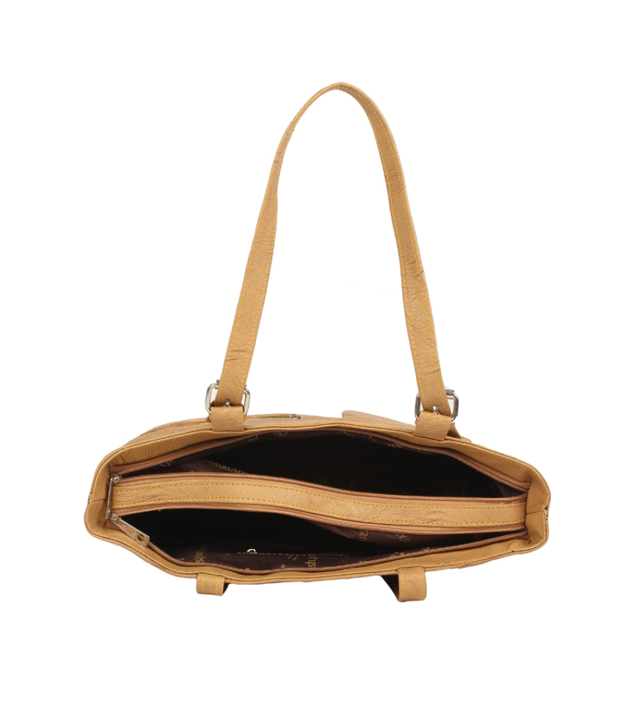 Aliado Faux Leather Solid Beige Zipper Closure Formal  Handbag