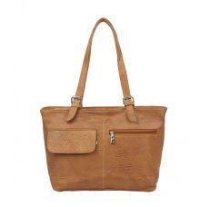 Aliado Faux Leather Solid Mustard Zipper Closure Formal  Bag
