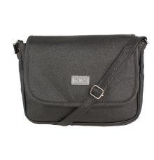Aliado Faux Leather Solid Black Magnetic Snap Crossbody Bag