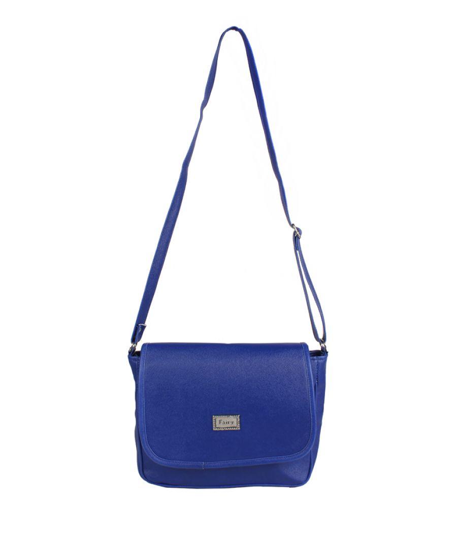 Aliado Faux Leather Solid Blue Magnetic Snap Crossbody Bag