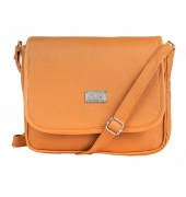 Aliado Faux Leather Solid Mustard Magnetic Snap Crossbody Bag