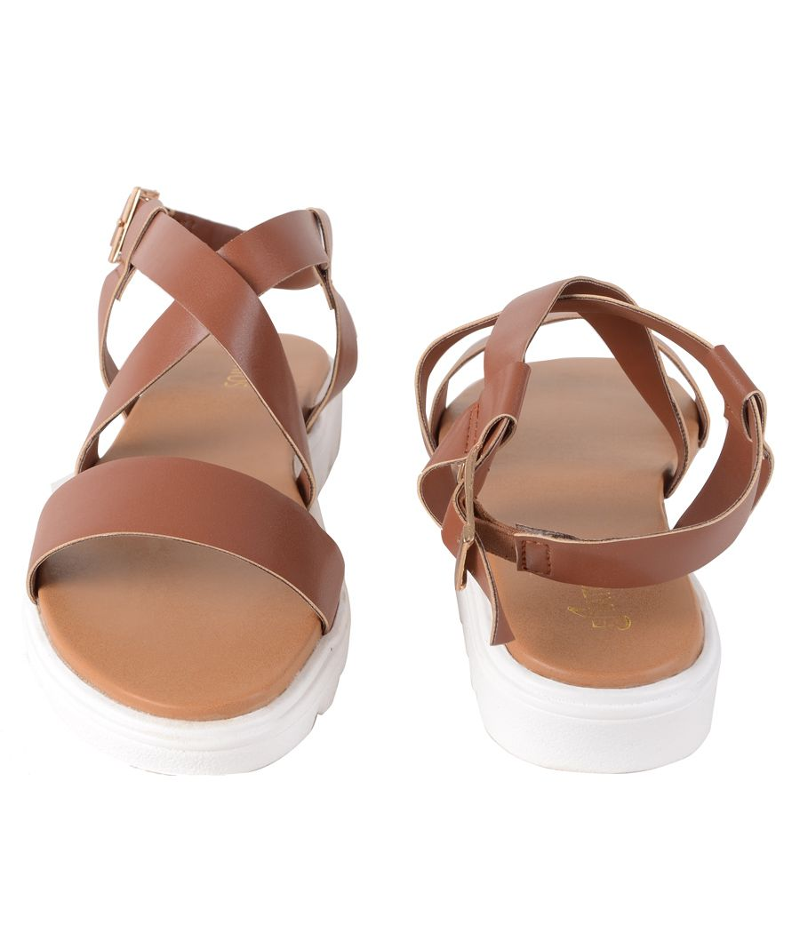 Estatos Faux Leather Open Toe Cross Strap Buckle Closure Mesh Style White Platform Heel Brown Sandals for Women