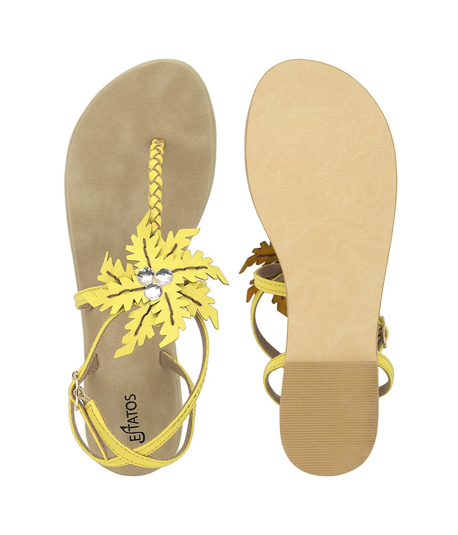 Estatos Summer Cool Leather Embellished with Laser Cut Flower Buckle Closure Light Yellow Flat Sandals for Women